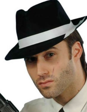 20's Gangster Fancy Dress - Flocked Hat - Black/White